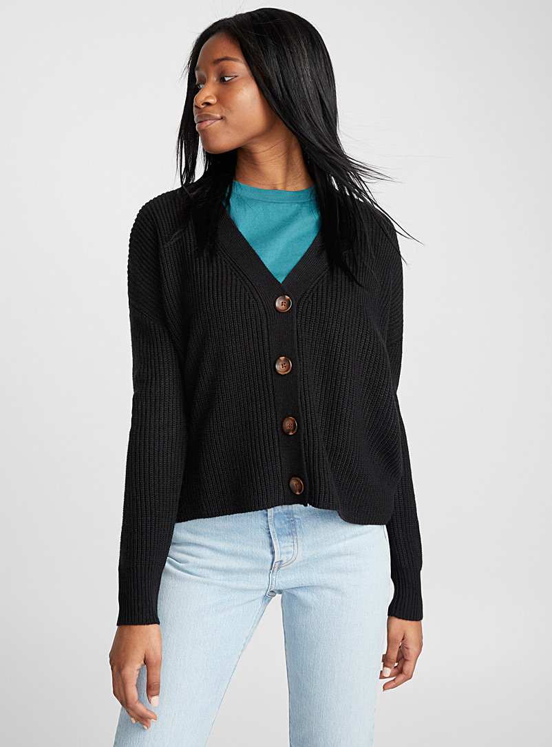 Twik Black Marbled-button cropped cardigan for women