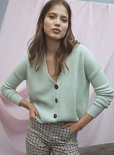 Marbled-button cropped cardigan