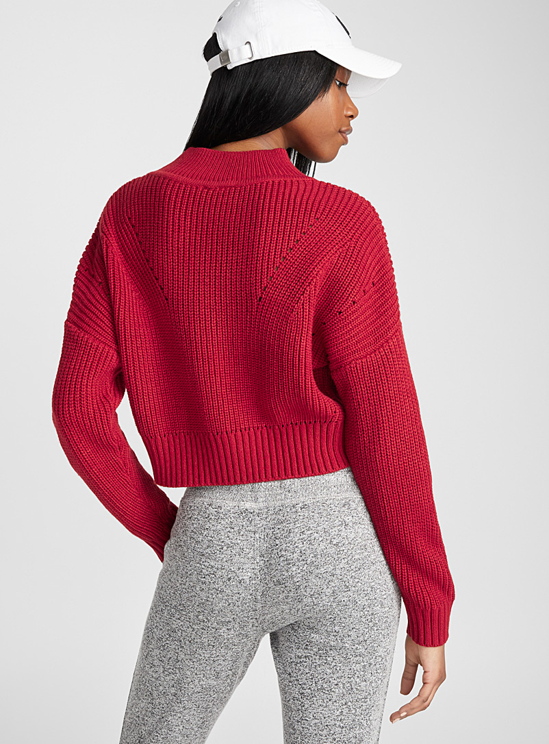 Openwork ribbed mock-neck sweater - Sweaters - Red