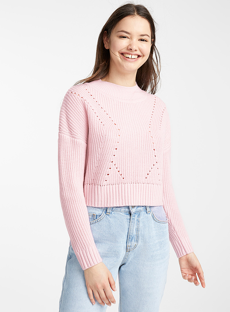 Openwork ribbed mock-neck sweater - Sweaters - Light pink