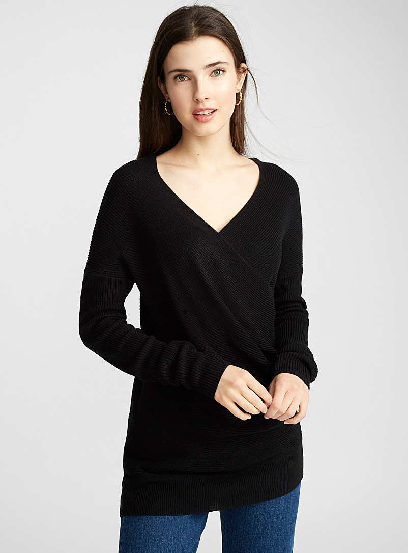 Draped crossover sweater - Sweaters - Black