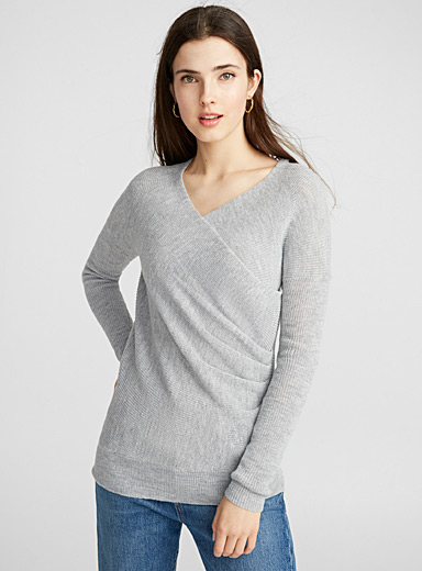 Draped crossover sweater