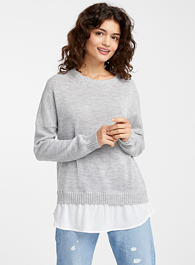 Le pull fin tricot chemise