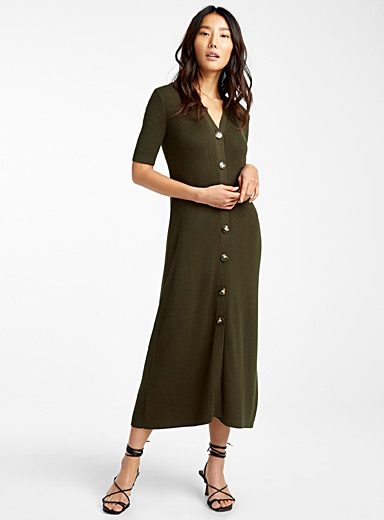 Ribbed button-up midi dress