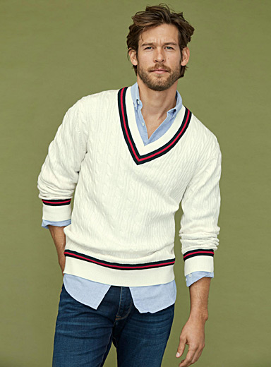 Twisted cable Varsity sweater