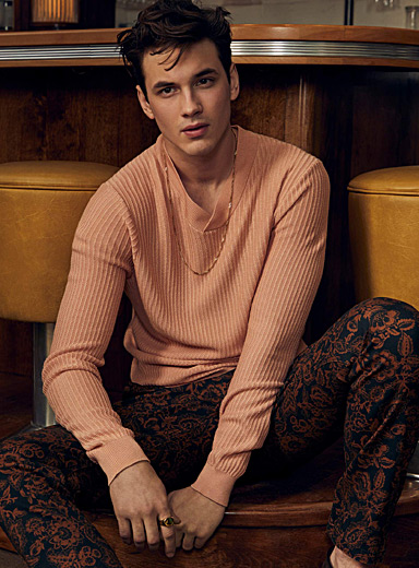 Le 31 Pink Raised rib textured sweater for men