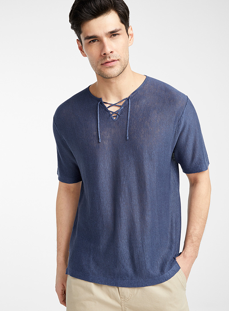 Le 31 Marine Blue Laced-neck organic linen sweater for men