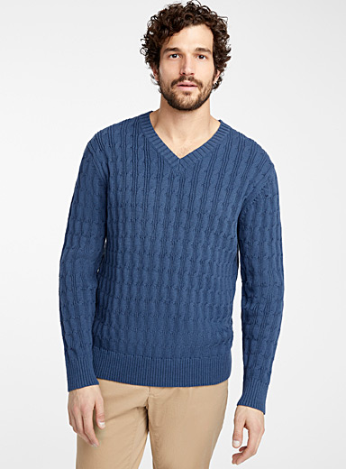 Twisted cable V-neck sweater