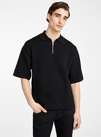 Le 31 Black Loose zip-neck polo for men