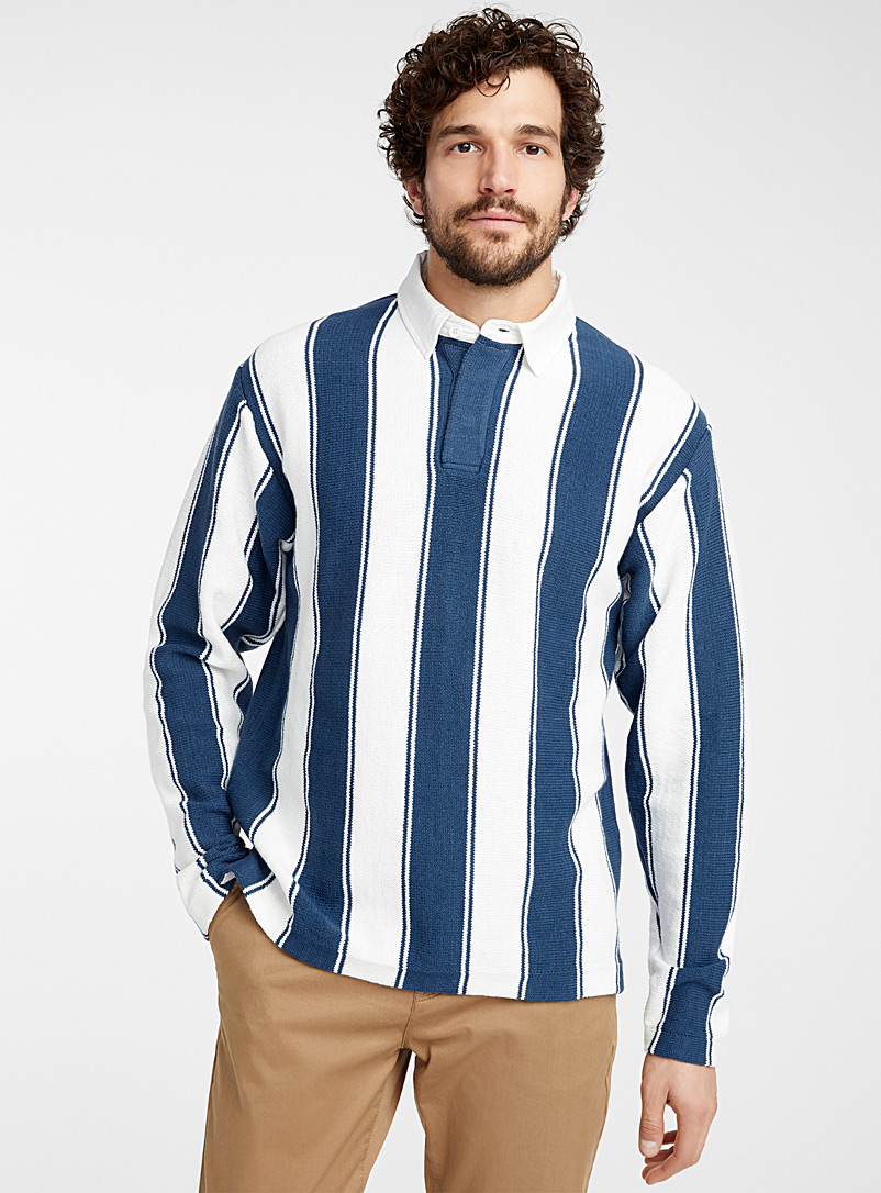 Le 31 Marine Blue Vertical-stripe knit rugby polo for men