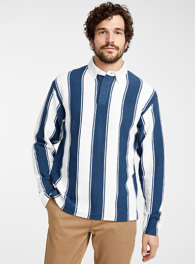 Vertical-stripe knit rugby polo