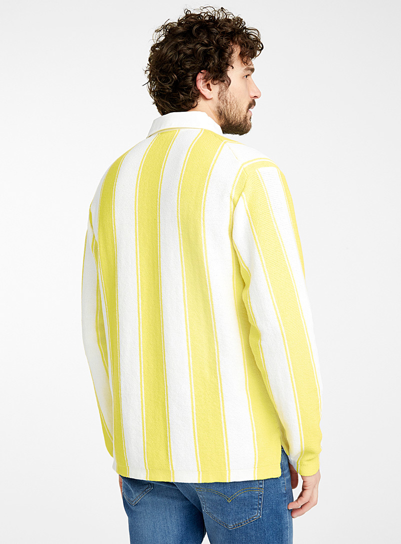 Le 31: Le polo rugby tricot rayures verticales Jaune vif-canari pour homme