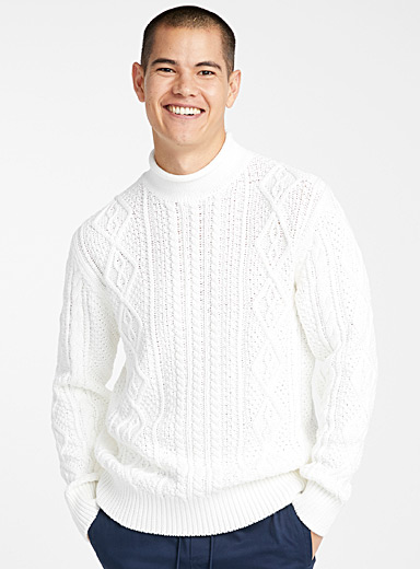Twisted cable-knit organic cotton sweater