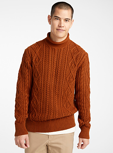 Le 31 Honey Twisted cable-knit organic cotton sweater for men