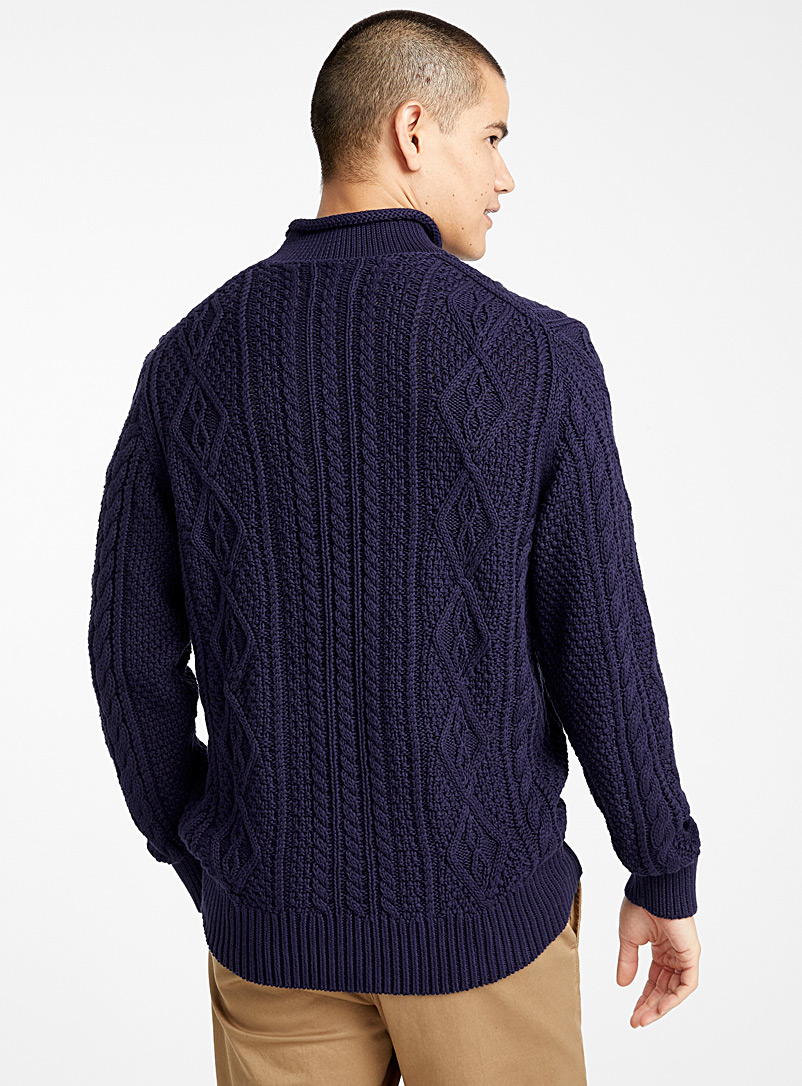 Le 31 Marine Blue Twisted cable-knit organic cotton sweater for men
