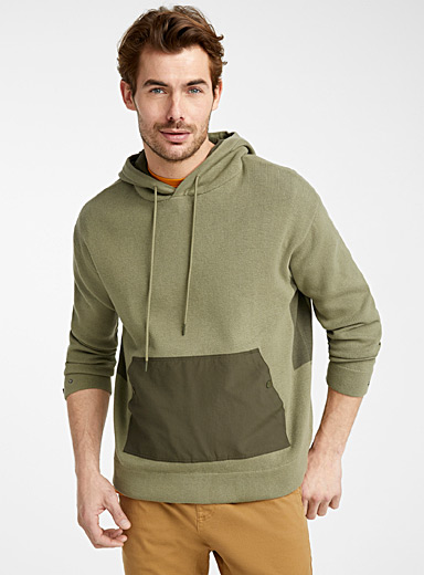 Le 31 Kelly Green Hooded utility sweater for men