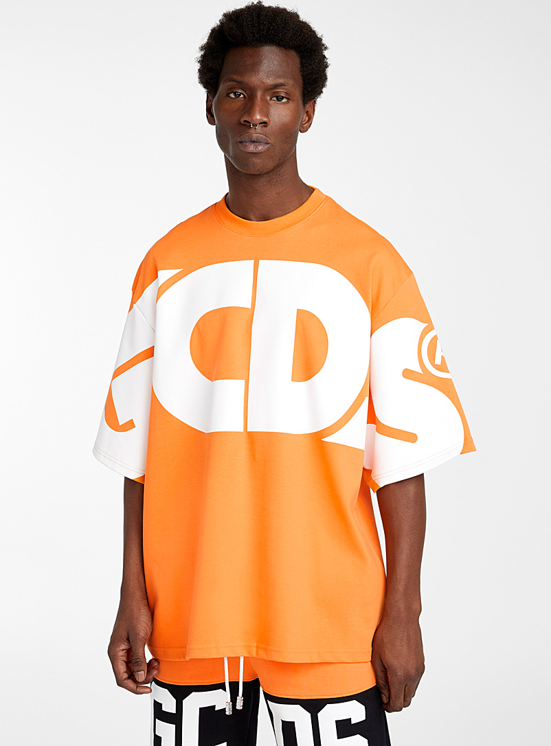 GCDS Orange Oversized designer T-shirt for men
