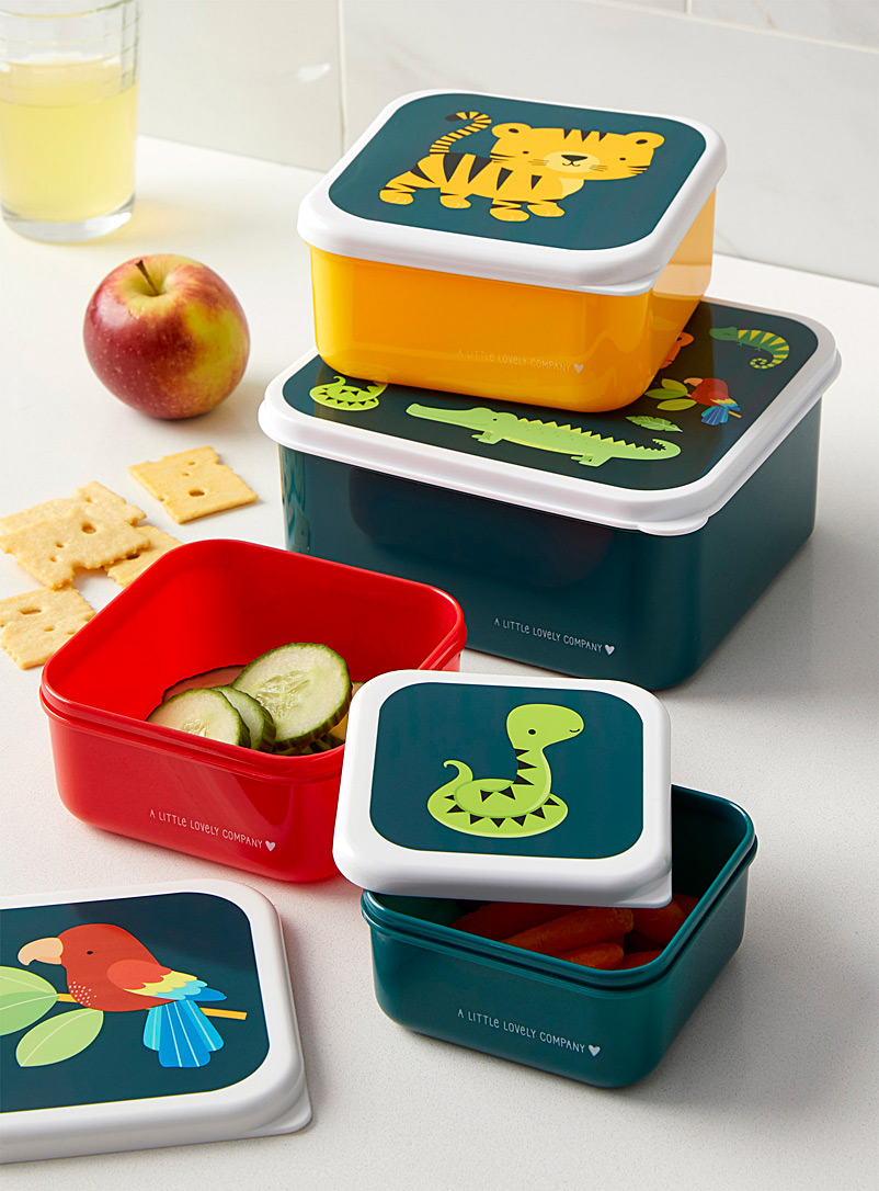 Jungle animals nesting lunch and snack containers  Set of 4