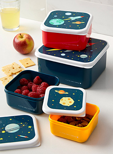 A Little Lovely Company Assorted Intergalactic voyage nesting lunch and snack containers  Set of 4