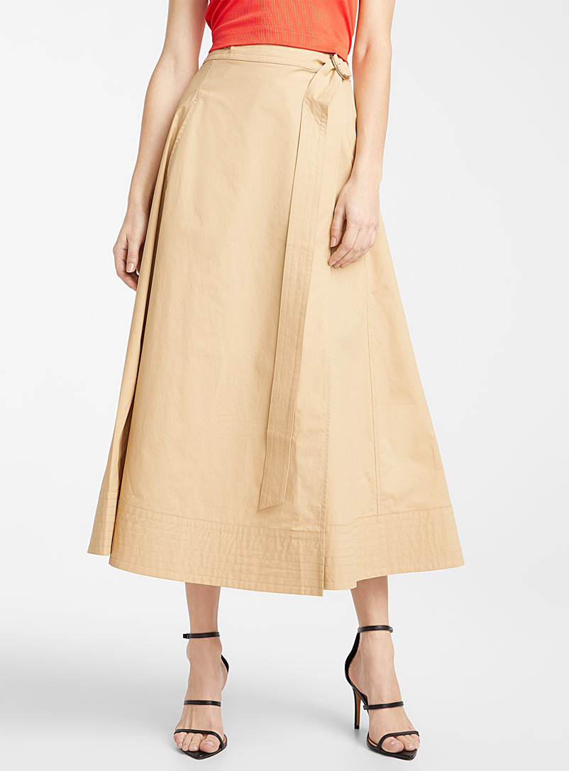 Ic?ne Cream Beige Topstitched trim poplin skirt for women