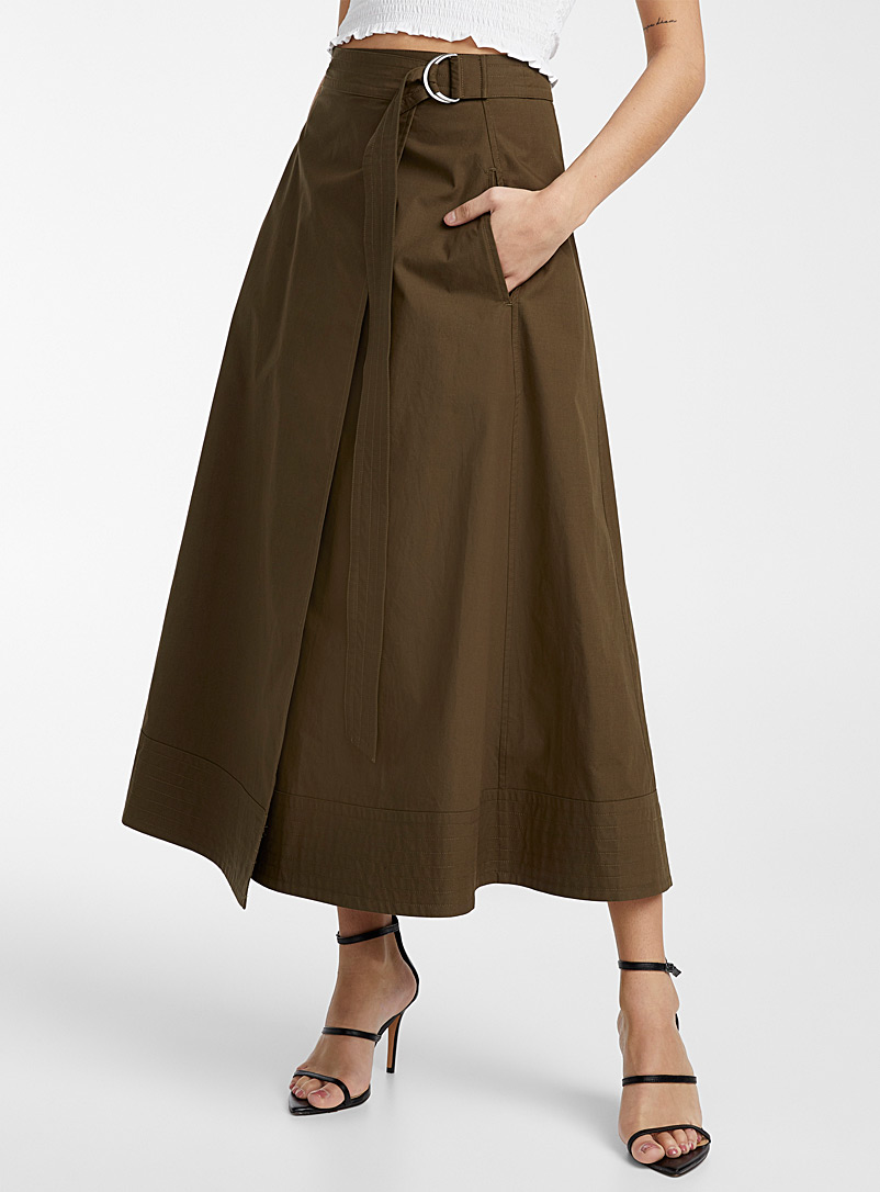 Ic?ne Mossy Green Topstitched trim poplin skirt for women
