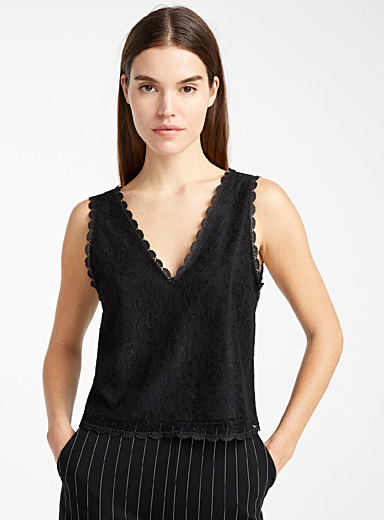 Icône Black Floral lace cami for women