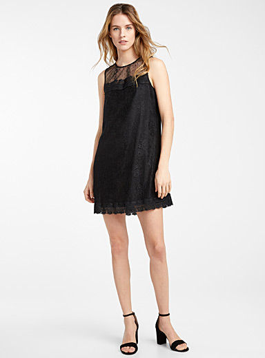 Icône Black Sleeveless lace dress for women