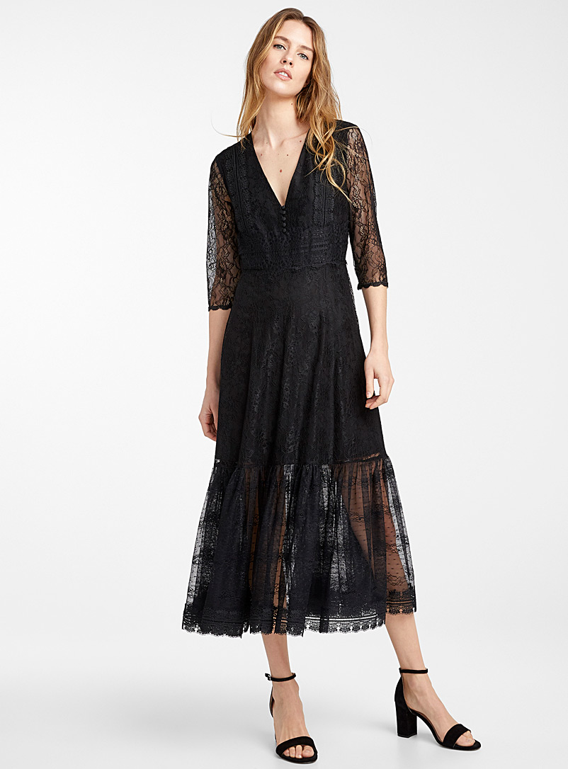 Icône Black Ruffle insert lace dress for women