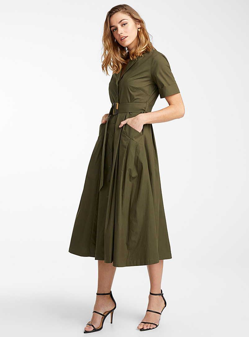 Icône Khaki Notch collar belted poplin dress for women