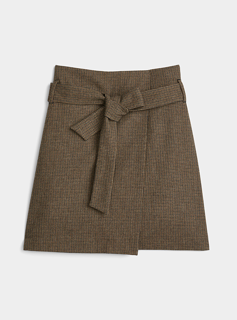 Contemporaine Patterned Brown Mini-check wrap skirt for women
