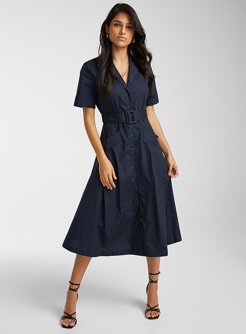 Icône Marine Blue Notch collar belted poplin dress for women