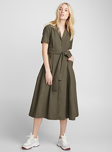 Belted poplin midi dress