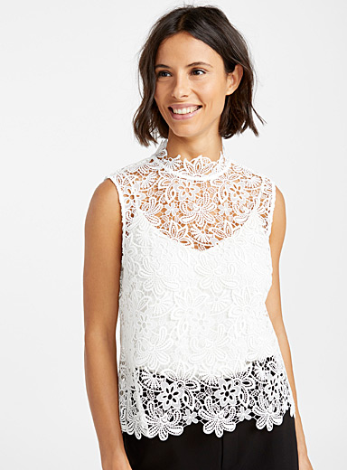 Lace mock-neck camisole