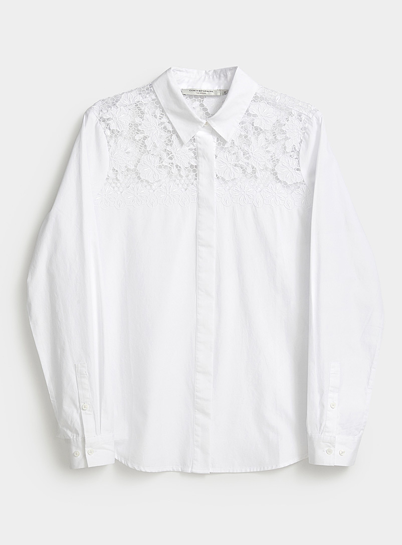 Contemporaine White Broderie anglaise shoulder shirt for women