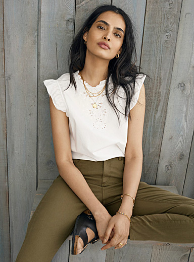 Frilly embroidered-bib blouse