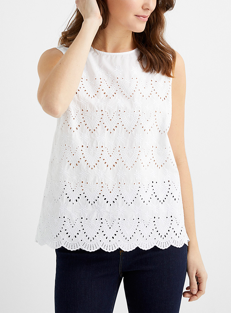 Contemporaine White Broderie anglaise camisole for women