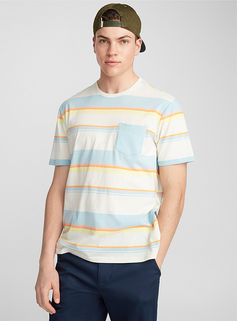 Striped accent-pocket T-shirt - T-Shirts, Tanks & Polos - White