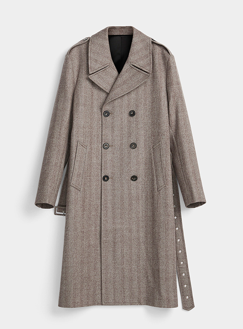 Ernest W. Baker Brown Flecked herringbone coat for men