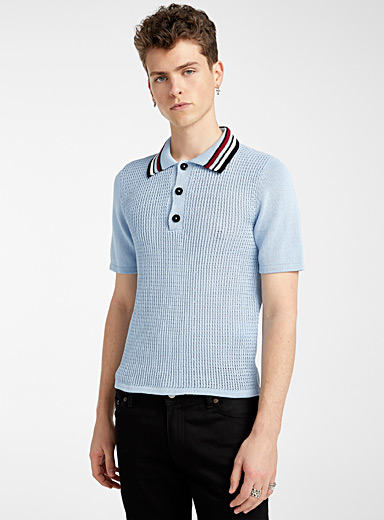 Ernest W. Baker Blue Knit polo for men