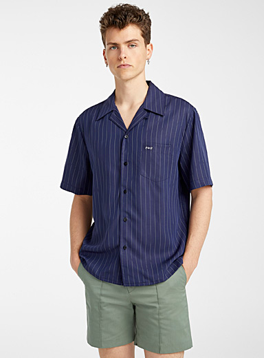 Ernest W. Baker Marine Blue Tennis stripe shirt for men