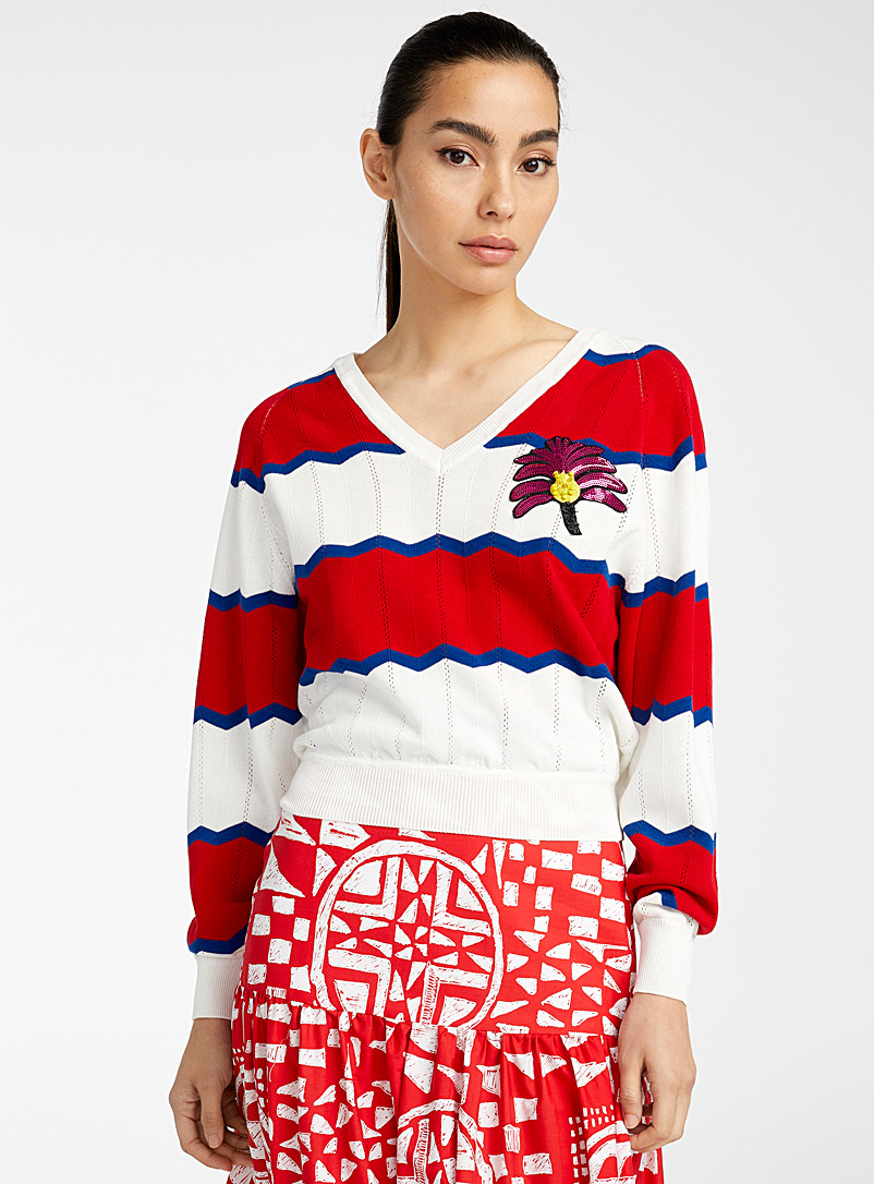Stella Jean Red Rigata sweater for women