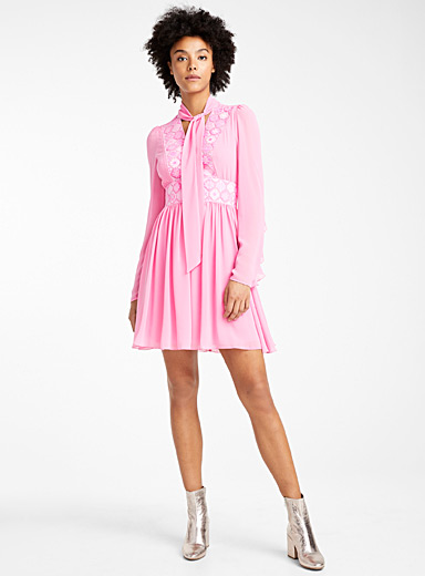 Embroidered bib voile dress