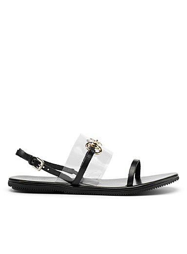 Transparent accent sandals