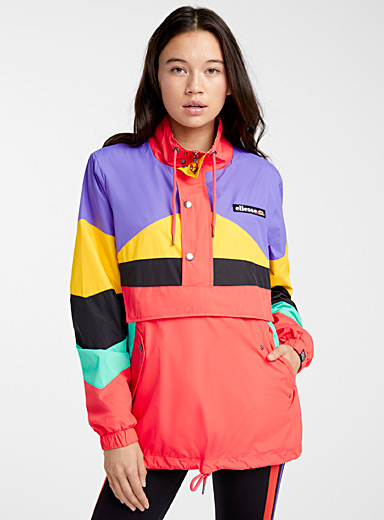 Bright colour block anorak