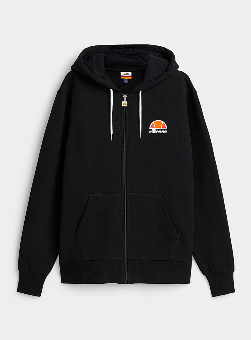 Ellesse Black Contrast-emblem zip hoodie for men