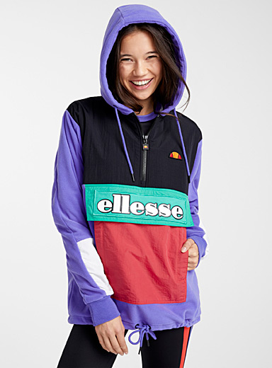 Colour block fleece hoodie
