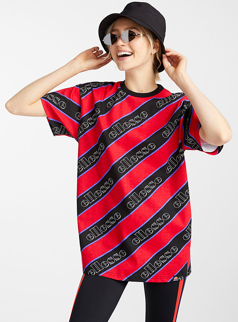 Diagonal stripe tee - Short Sleeves & ¾ Sleeves - Pink