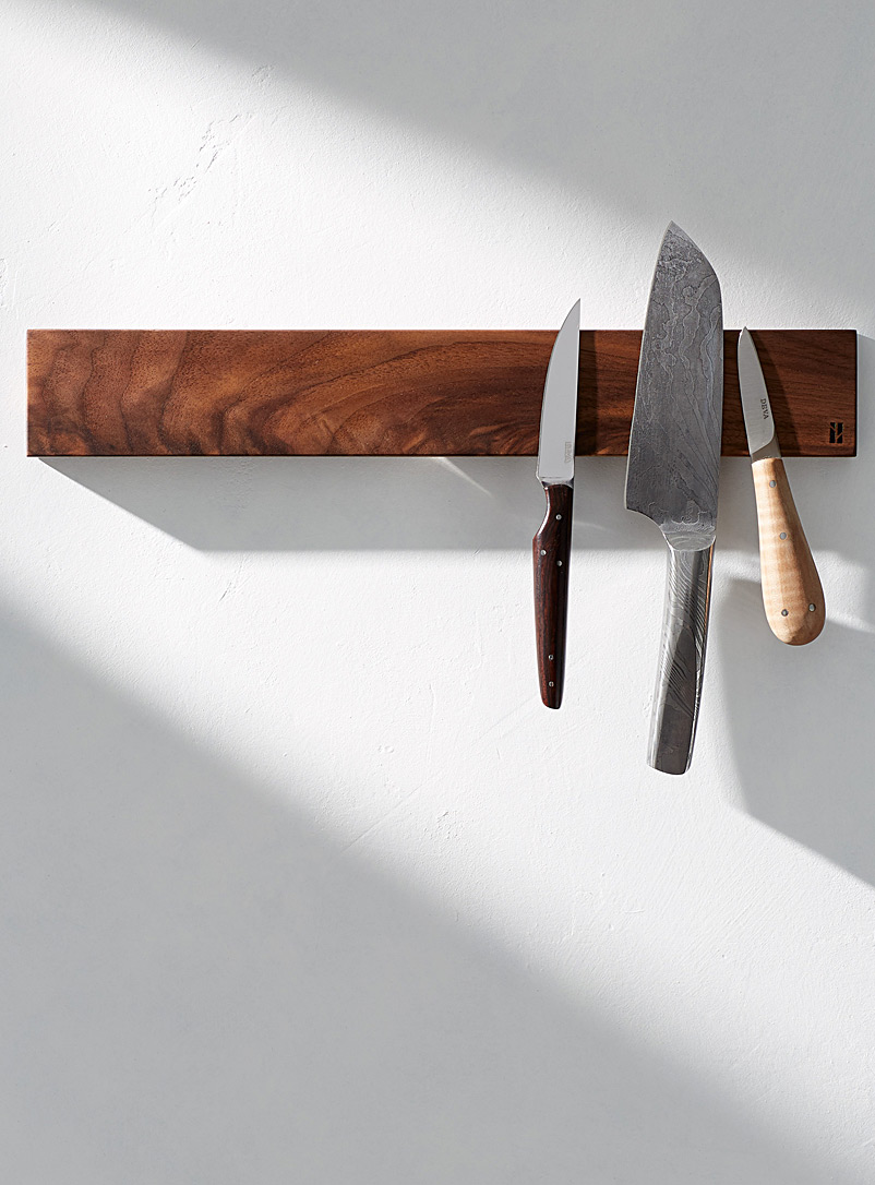 Long magnetic knife holder - Beau Grain - Walnut Wood