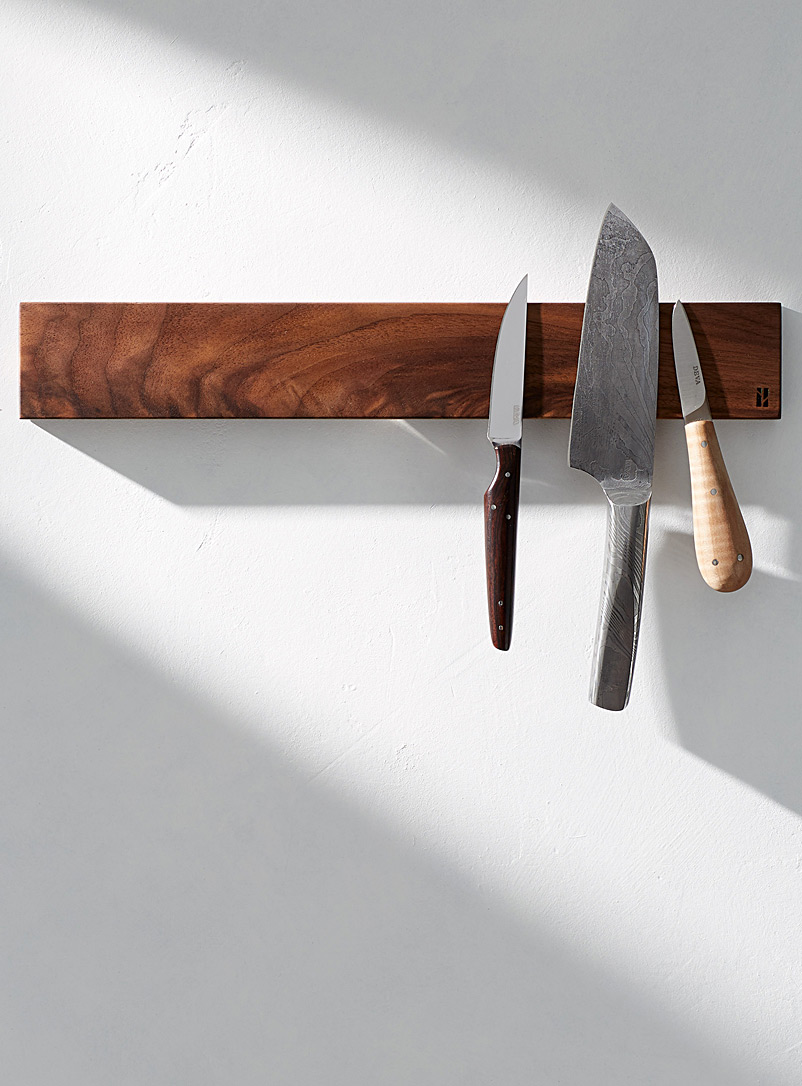 Long magnetic knife holder with balm - Beau Grain - Walnut Wood