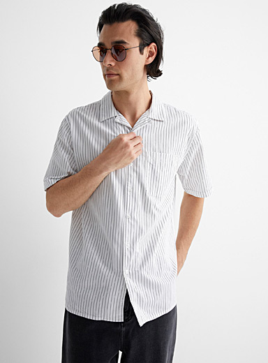 Etched stripe camp shirt Comfort fit